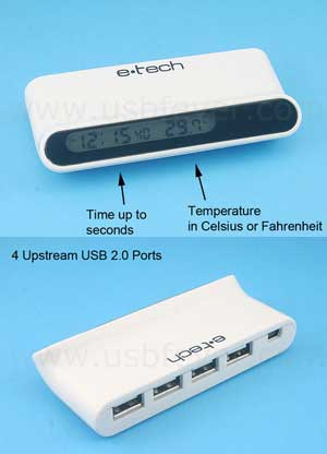 temp, clock, usb hub