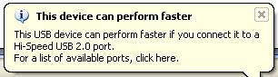 usb perform faster error message