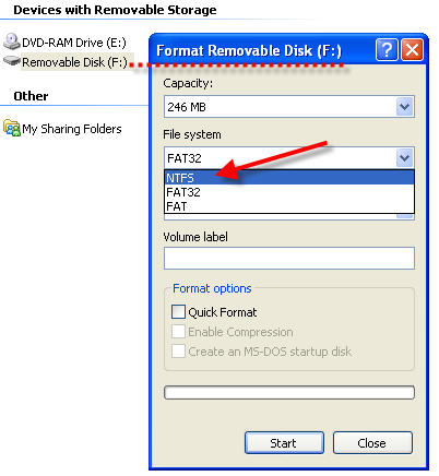 USB flash as NTFS