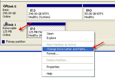assign drive letter to USB