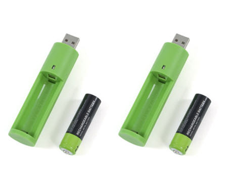 AA battery USB recharger