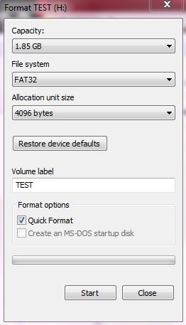 Formato USB