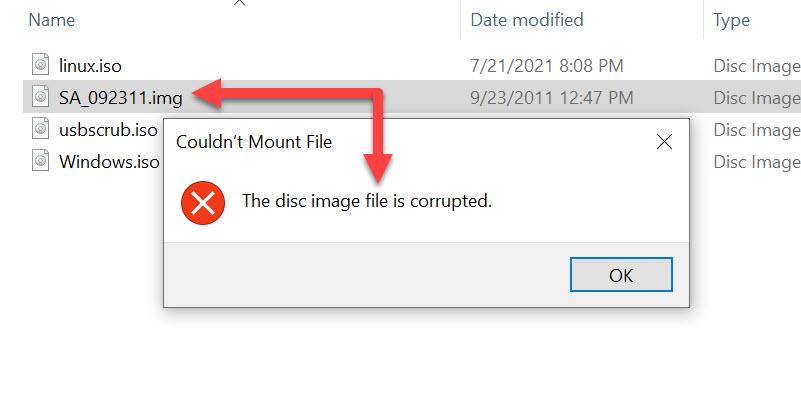 Windows, el archivo de imagen de disco está dañado
